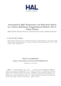 Axisymmetric High Temperature Jet Behaviours Based on a Lattice Boltzmann Computational Method. Part I  Argon Plasma