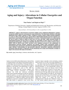 aging and injury alteration in cellular energetics