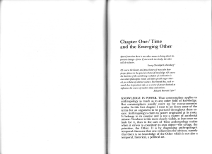 Time and the Emerging Other (Time and the Other, cap 1)
