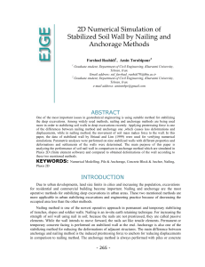 2D Numerical Simulation of Stabilized Soil Wall by Nailing and Anchorage Methods