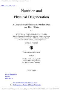 Weston Price Nutrition and Physical degeneration