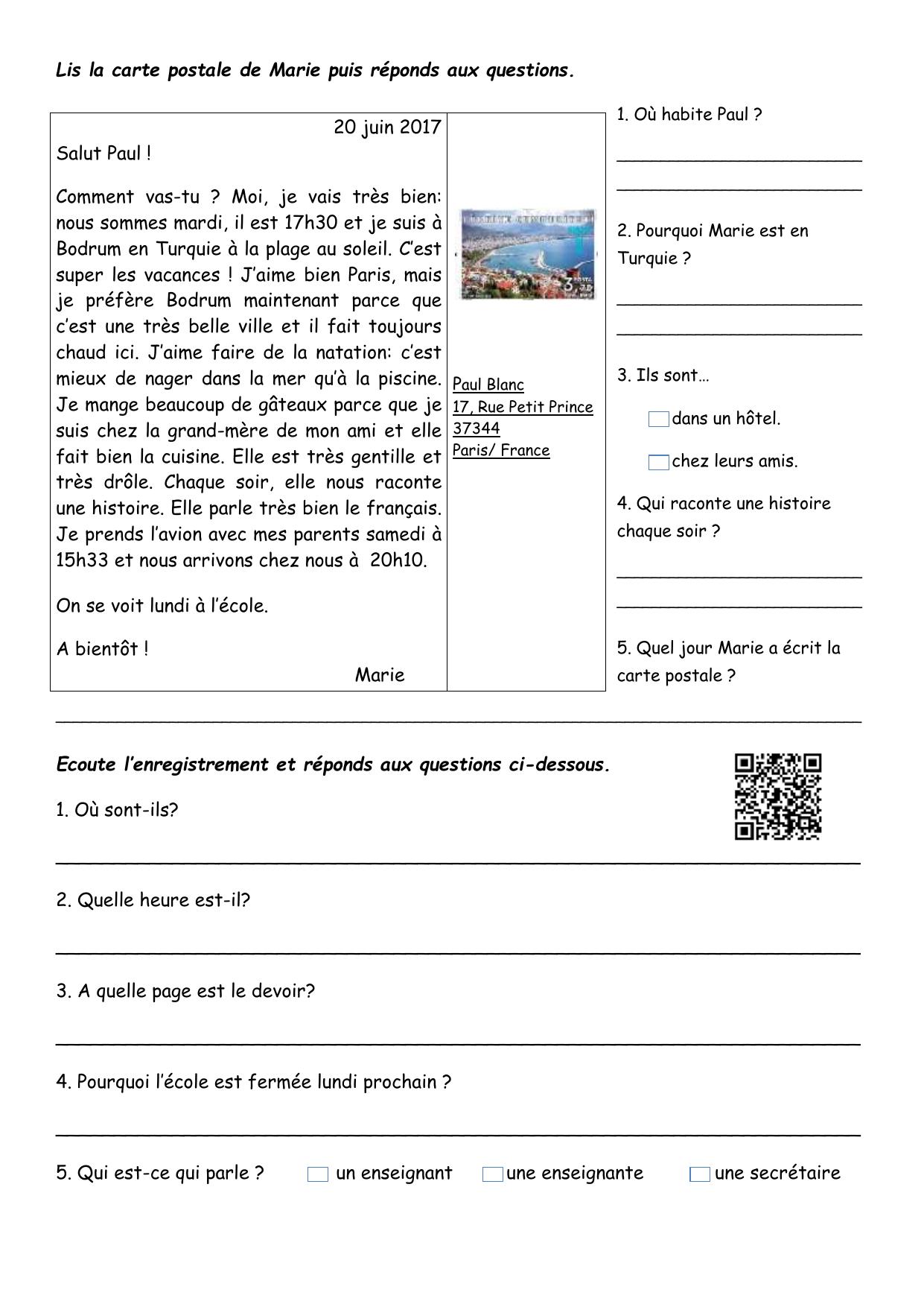 Comprehension Ecrite Et Orale Comprehension Ecrite Texte Questions Comprehension 101144