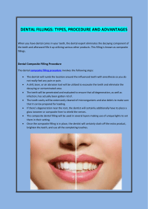 DENTAL FILLINGS TYPES, PROCEDURE AND ADVANTAGES