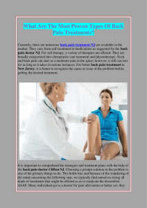 What Are The Most Proven Types Of Back Pain Treatments