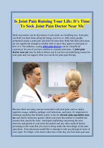 Is Joint Pain Ruining Your Life; It's Time To Seek Joint Pain Doctor Near Me