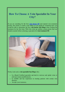 How To Choose A Vein Specialist In Your City