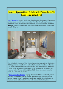 Laser Liposuction A Miracle Procedure To Lose Unwanted Fat