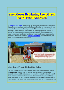Save Money By Making Use Of 'Sell Your Home' Approach