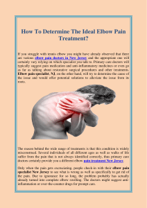How To Determine The Ideal Elbow Pain Treatment