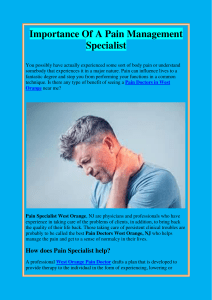 Importance Of A Pain Management Specialist
