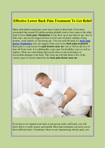 Effective Lower Back Pain Treatment To Get Relief