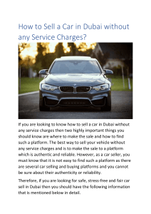 How to Sell a Car in Dubai without any Service Charges?