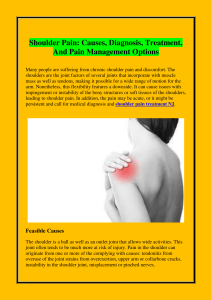 Shoulder Pain Causes, Diagnosis, Treatment, And Pain Management Options