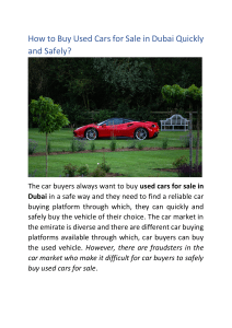 How to Buy Used Cars for Sale in Dubai Quickly and Safely?