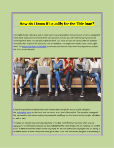 How do I know if I qualify for the Title loan