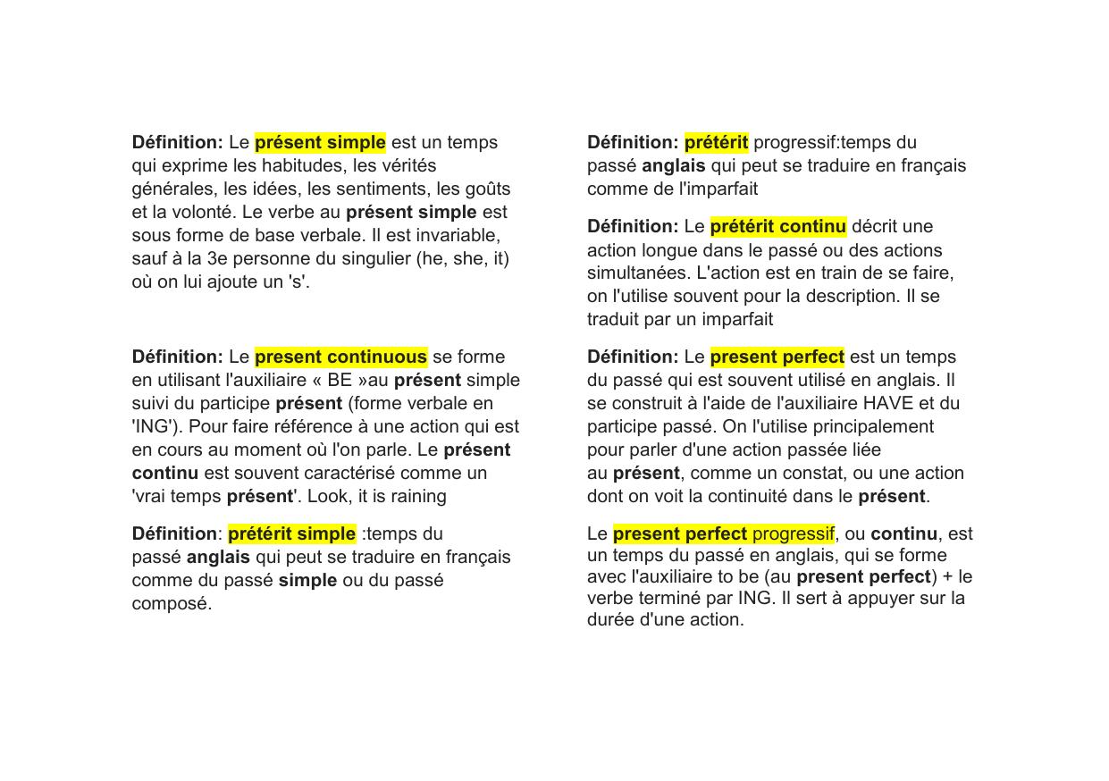 Definitions Des Differents Temps En Anglais