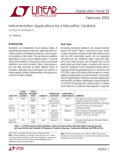 Instrumentation Applications for a Monolithic Oscillator