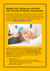 Shoulder Pain Management And Relief With The Help Of Shoulder Pain Specialist