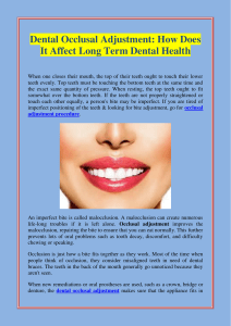 Dental Occlusal Adjustment How Does It Affect Long Term Dental Health