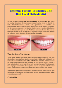 Essential Factors To Identify The Best Local Orthodontist