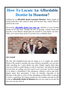 How To Locate An Affordable Dentist In Houston
