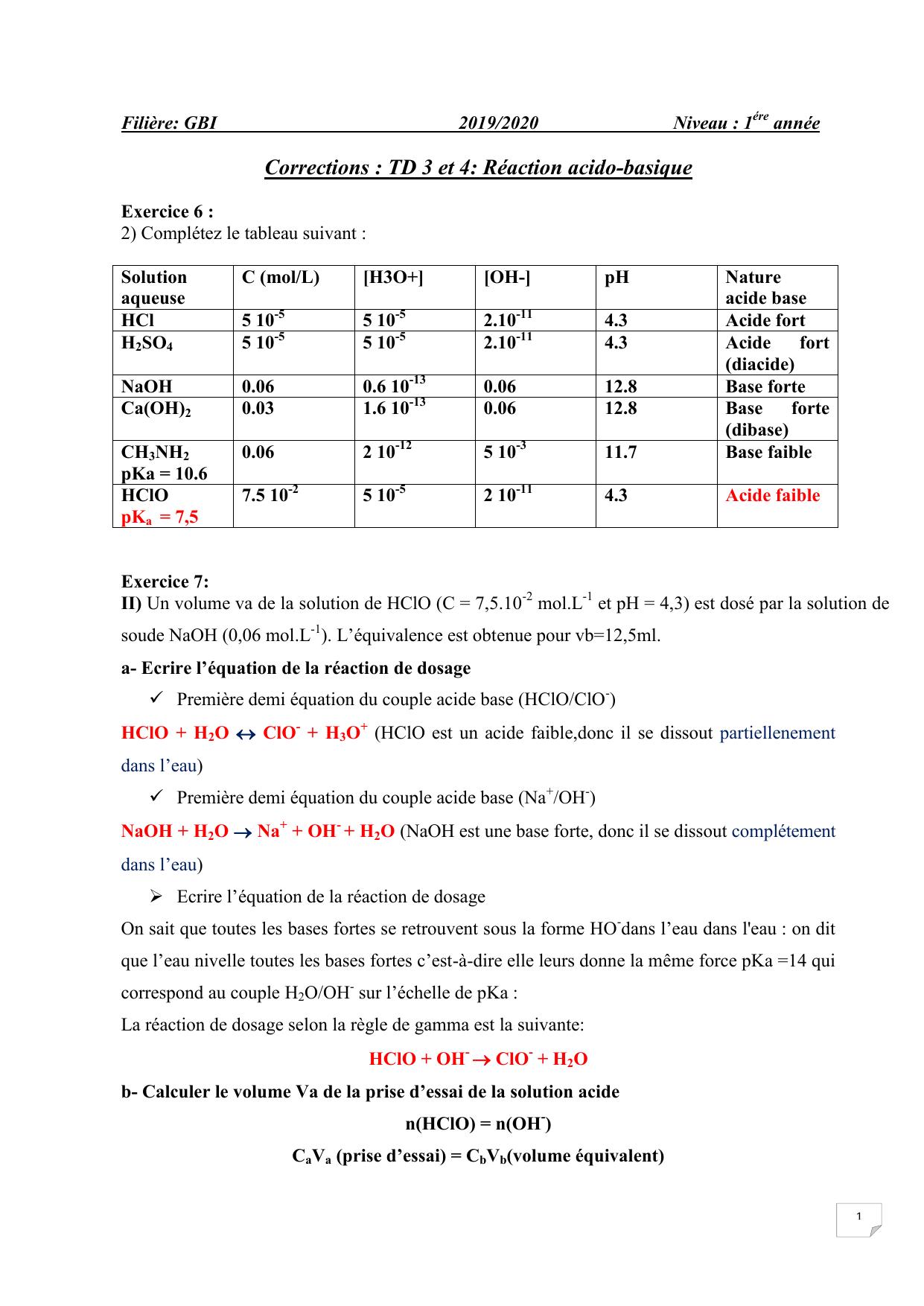 Corrections Des Td 1 2 3 Acide Base Gbi 1
