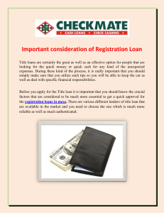 Important consideration of Registration Loan