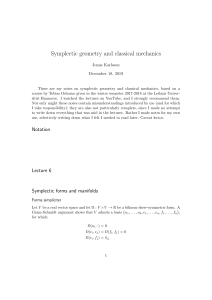 Rather skeletal notes on symplectic geometry and Hamiltonian mechanics