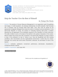 Help the teacher give the best of him self: Critical Analysis of Teacher Motivation Policy in Schools in the Democratic Republic of Congo