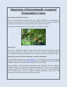 Importance of internationally recognized Permaculture Course