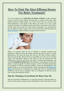 How To Find The Most Efficient Doctor For Botox Treatment