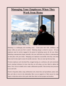 Managing Your Employees When They Work from Home