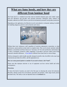 What are fume hoods, and how they are different from laminar hood