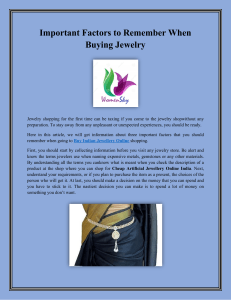 Important Factors to Remember When Buying Jewelry