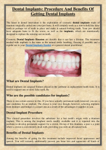 Dental Implants Procedure And Benefits Of Getting Dental Implants