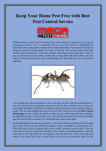 Keep Your Home Pest Free with Best Pest Control Service