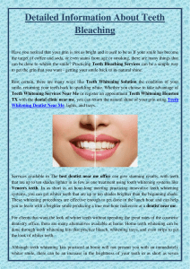 Detailed Information About Teeth Bleaching