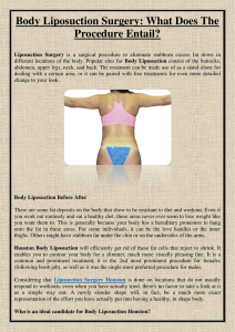 Body Liposuction Surgery What Does The Procedure Entail