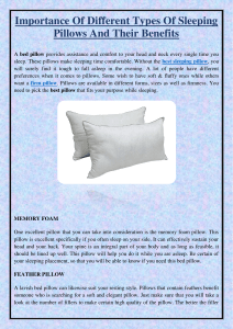 Importance Of Different Types Of Sleeping Pillows And Their Benefits