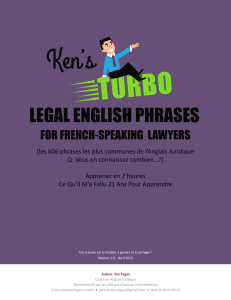 Kens Turbo Legal English Phrases for French-Speaking Lawyers