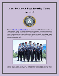 How To Hire A Best Security Guard Service