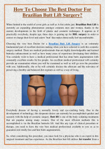 How To Choose The Best Doctor For Brazilian Butt Lift Surgery
