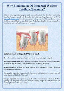 Why Elimination Of Impacted Wisdom Tooth Is Necessary