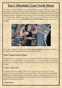 Top 5 Affordable Gyms North Miami