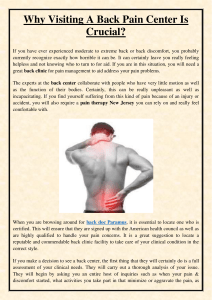 Why Visiting A Back Pain Center Is Crucial