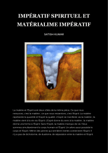 IMPERATIF SPIRITUEL ET MATERIALISME IMPERATIF - SATISH KUMAR
