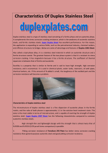 Characteristics Of Duplex Stainless Steel