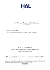 New whole numbers classification