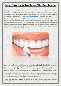 Some Easy Steps To Choose The Best Dentist