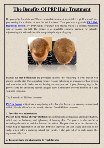 The Benefits Of PRP Hair Treatment